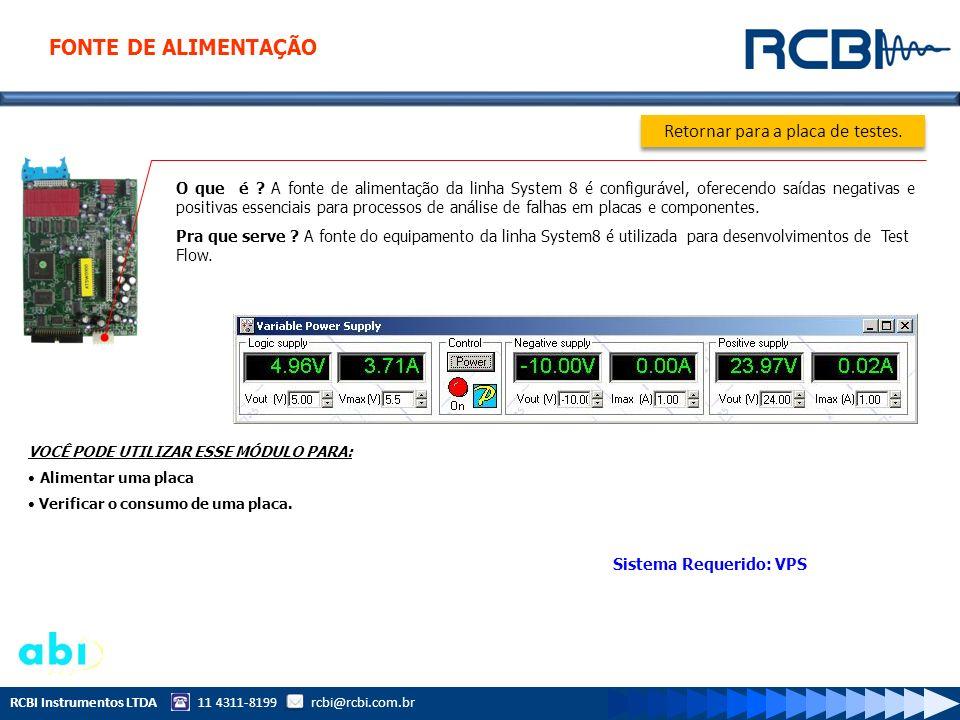 RCBI Instrumentos LTDA 11 4311-8199 rcbi@rcbi.com.br O que é ? A fonte de alimentação da linha System 8 é configurável, oferecendo saídas negativas e