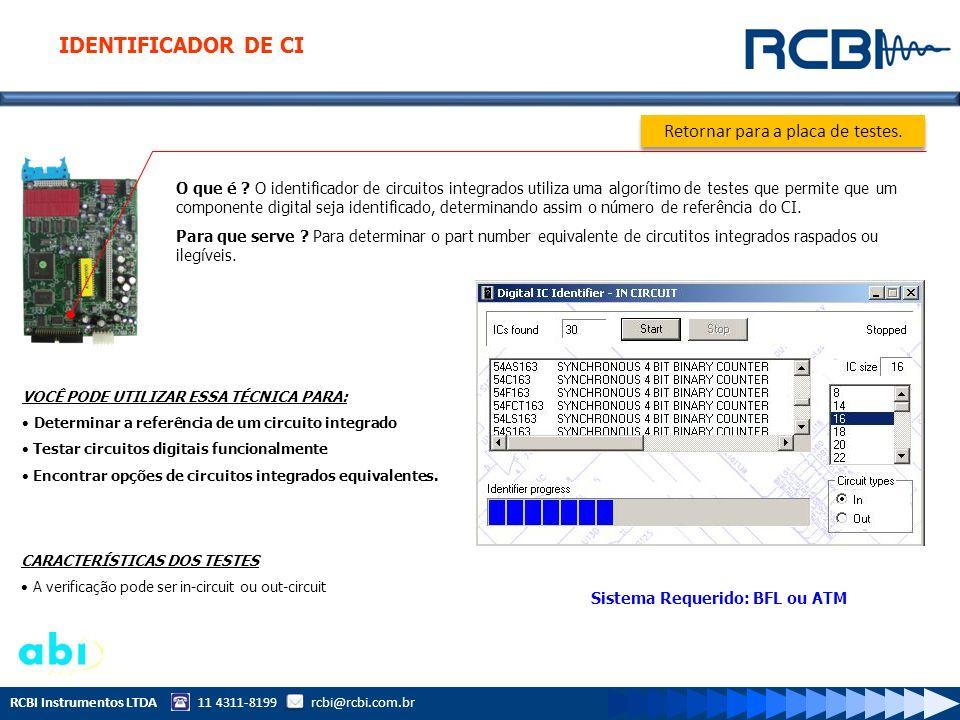 RCBI Instrumentos LTDA 11 4311-8199 rcbi@rcbi.com.br O que é ? O identificador de circuitos integrados utiliza uma algorítimo de testes que permite qu