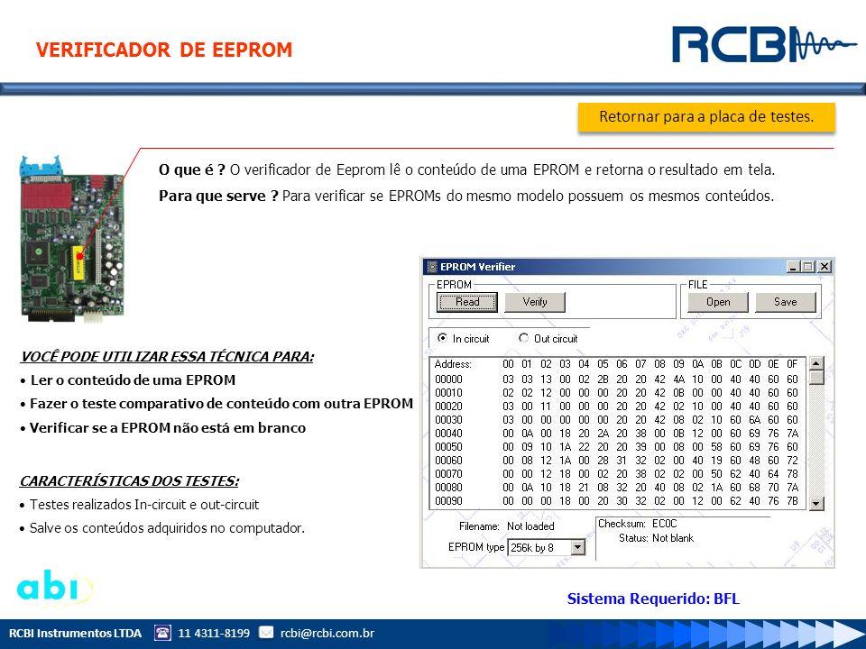 RCBI Instrumentos LTDA 11 4311-8199 rcbi@rcbi.com.br O que é ? O verificador de Eeprom lê o conteúdo de uma EPROM e retorna o resultado em tela. Para