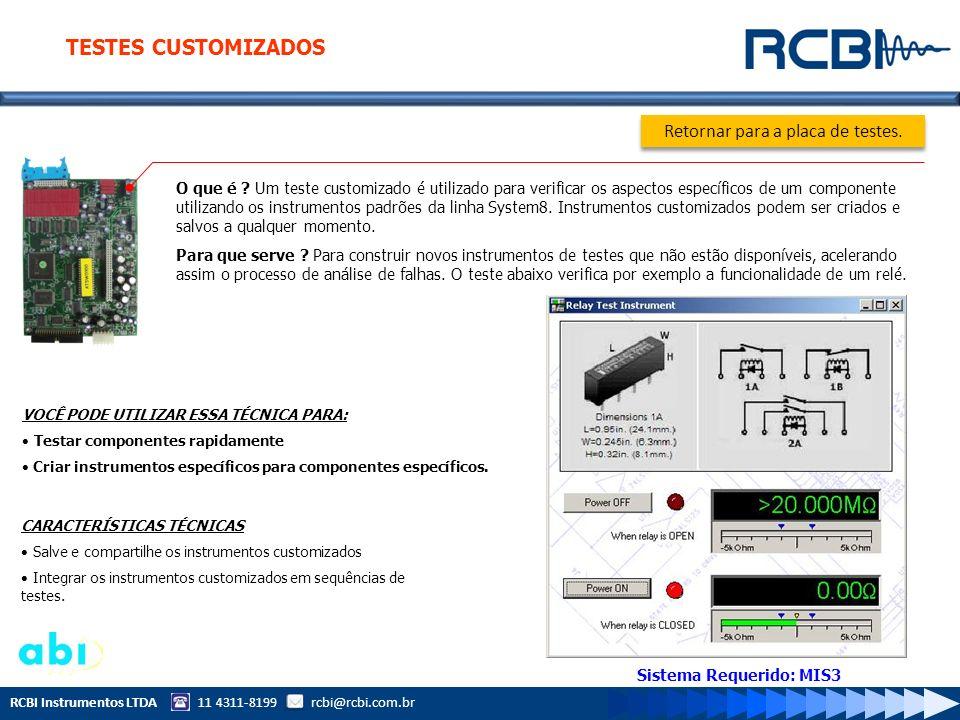 RCBI Instrumentos LTDA 11 4311-8199 rcbi@rcbi.com.br O que é ? Um teste customizado é utilizado para verificar os aspectos específicos de um component