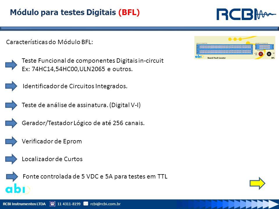 RCBI Instrumentos LTDA 11 4311-8199 rcbi@rcbi.com.br Módulo para testes Digitais Avançados (ATM) Características do Módulo ATM: Teste Funcional de componentes Digitais in-circuit Ex: 74HC14,54HC00,ULN2065 e outros.