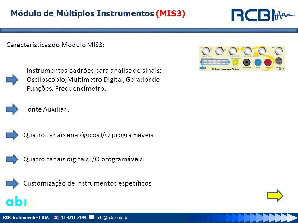 RCBI Instrumentos LTDA 11 4311-8199 rcbi@rcbi.com.br Módulo de Múltiplos Instrumentos (MIS3) Características do Módulo MIS3: Instrumentos padrões para