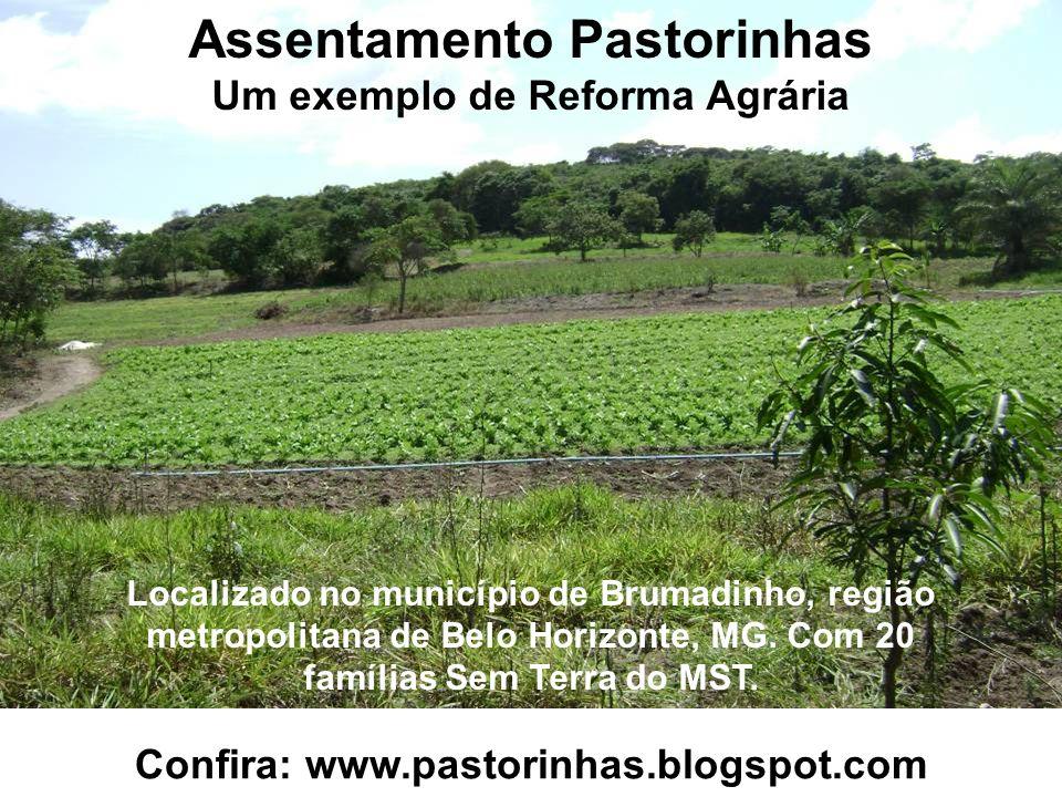 Assentamento Pastorinhas Um exemplo de Reforma Agrária Localizado no município de Brumadinho, região metropolitana de Belo Horizonte, MG. Com 20 famíl