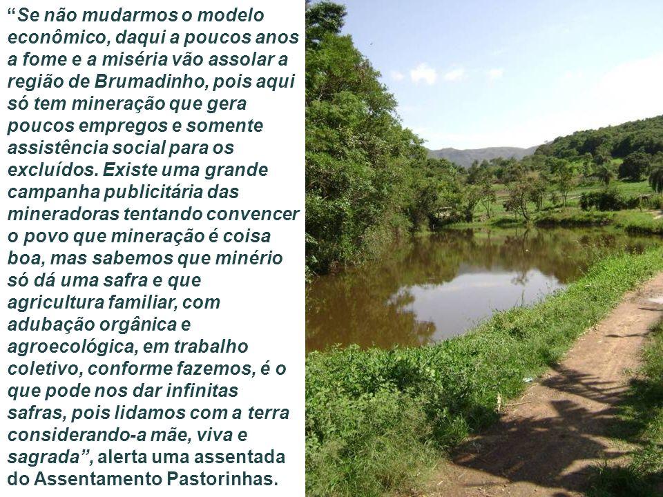 Se não mudarmos o modelo econômico, daqui a poucos anos a fome e a miséria vão assolar a região de Brumadinho, pois aqui só tem mineração que gera pou