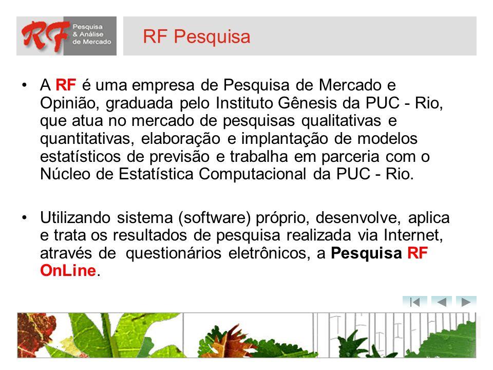 RF Pesquisa A RF é uma empresa de Pesquisa de Mercado e Opinião, graduada pelo Instituto Gênesis da PUC - Rio, que atua no mercado de pesquisas qualit