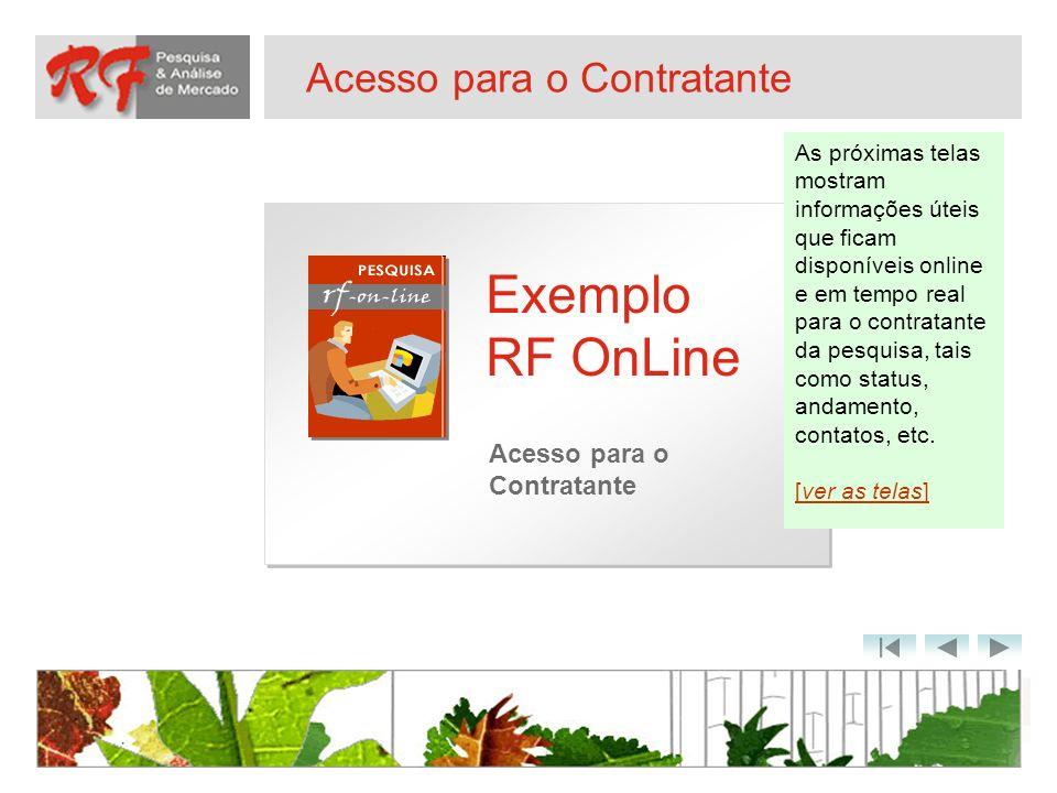 Acesso para o Contratante Exemplo RF OnLine Acesso para o Contratante As próximas telas mostram informações úteis que ficam disponíveis online e em te