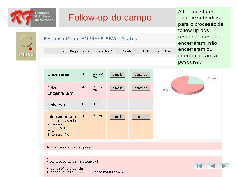 Follow-up do campo A tela de status fornece subsídios para o processo de follow up dos respondentes que encerraram, não encerraram ou interromperam a