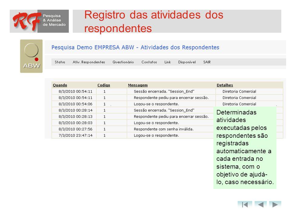 Registro das atividades dos respondentes Determinadas atividades executadas pelos respondentes são registradas automaticamente a cada entrada no siste