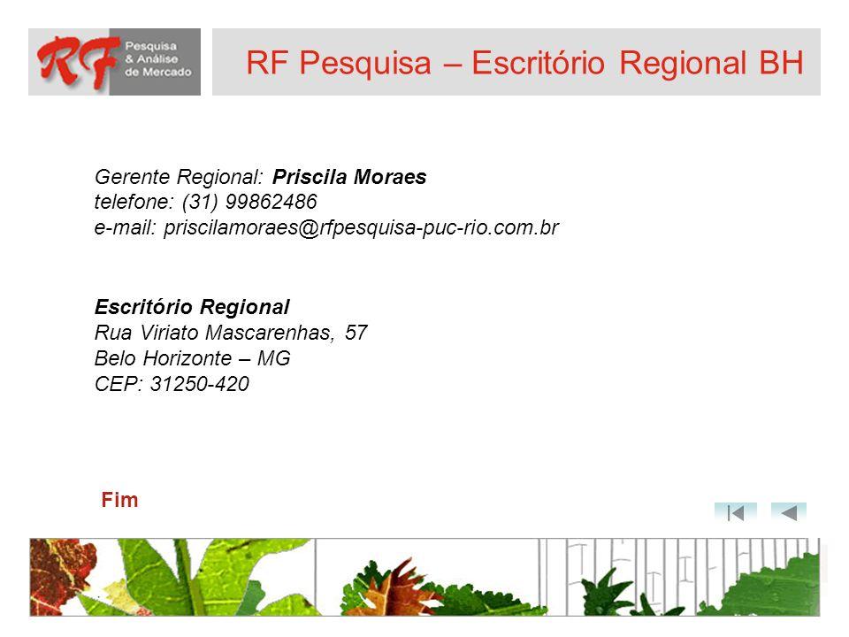 RF Pesquisa – Escritório Regional BH Gerente Regional: Priscila Moraes telefone: (31) 99862486 e-mail: priscilamoraes@rfpesquisa-puc-rio.com.br Escrit