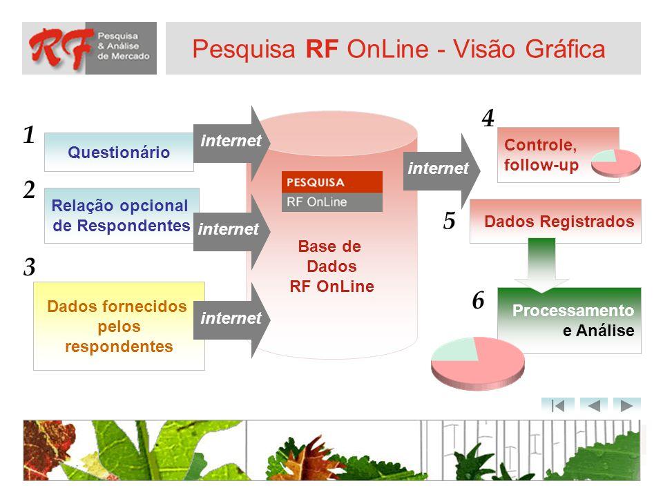 Pesquisa RF OnLine - Visão Gráfica Base de Dados RF OnLine Questionário Relação opcional de Respondentes Dados fornecidos pelos respondentes Dados Reg