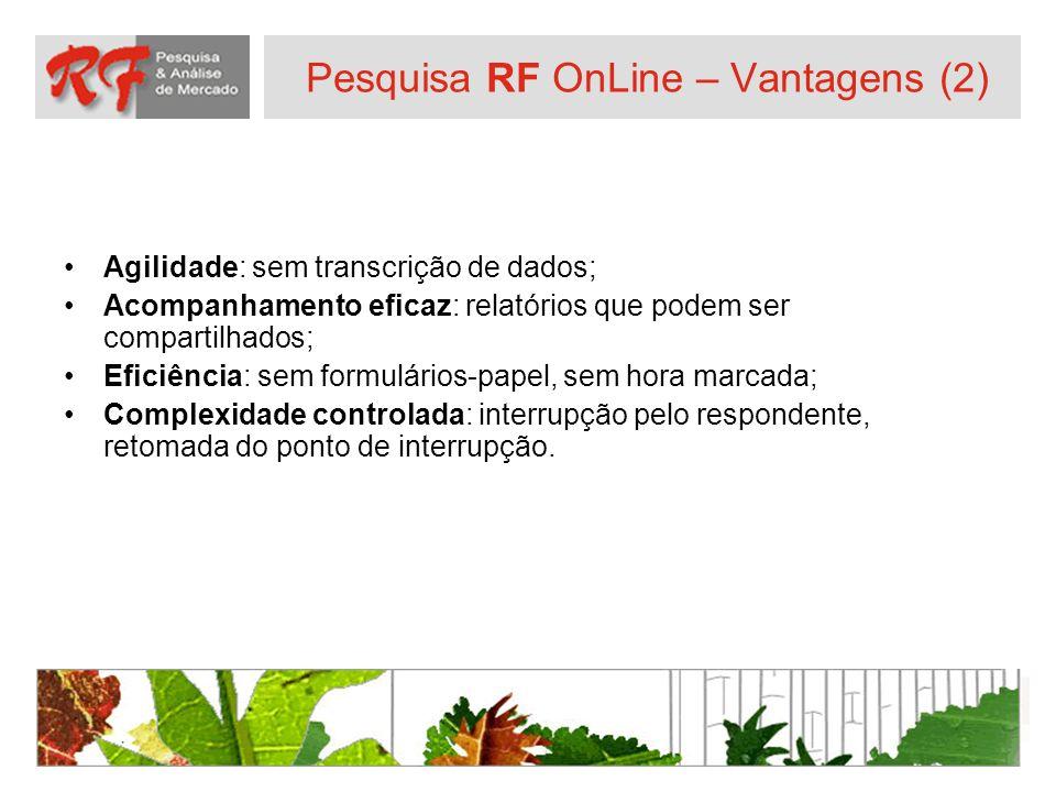 Pesquisa RF OnLine – Vantagens (2) Agilidade: sem transcrição de dados; Acompanhamento eficaz: relatórios que podem ser compartilhados; Eficiência: se