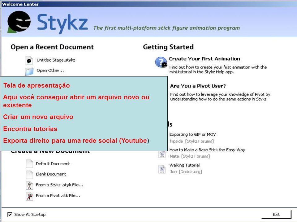 Tela de apresentação Aqui você conseguir abrir um arquivo novo ou existente Criar um novo arquivo Encontra tutorias Exporta direito para uma rede soci