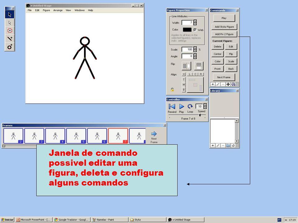 Janela de comando possivel editar uma figura, deleta e configura alguns comandos
