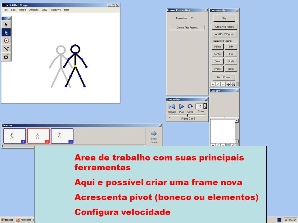 Area de trabalho com suas principais ferramentas Aqui e possível criar uma frame nova Acrescenta pivot (boneco ou elementos) Configura velocidade