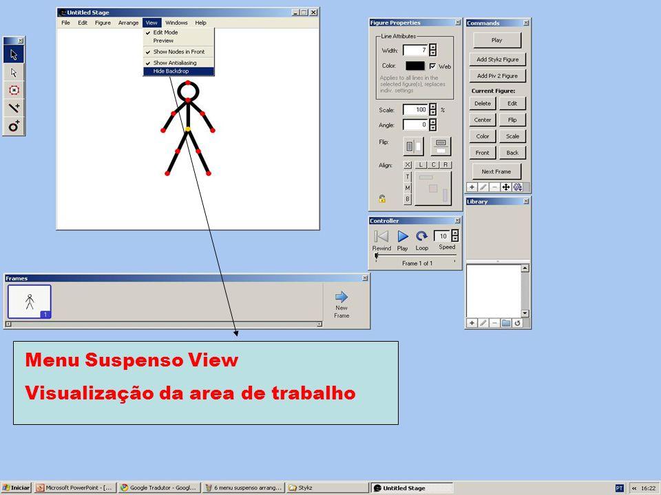 Menu Suspenso View Visualização da area de trabalho