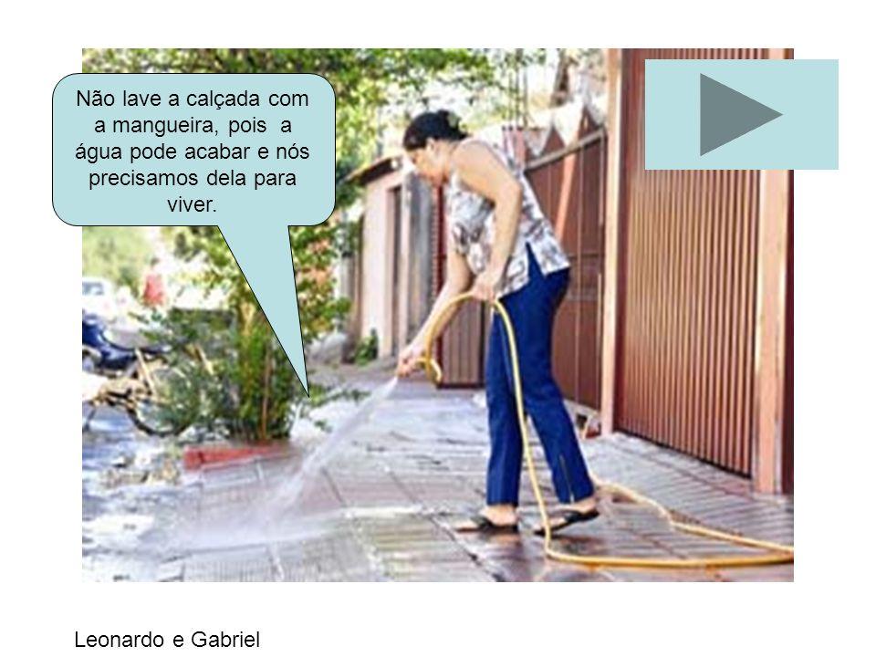 Não lave a calçada com a mangueira, pois a água pode acabar e nós precisamos dela para viver.