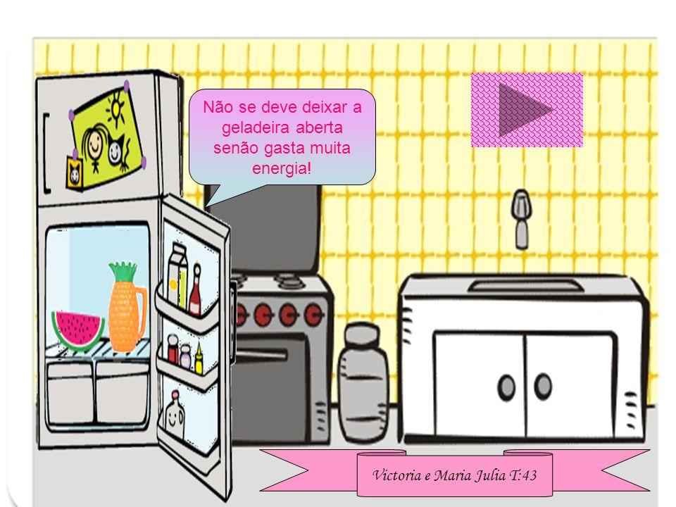 Não se deve deixar a geladeira aberta senão gasta muita energia! Victoria e Maria Julia T:43