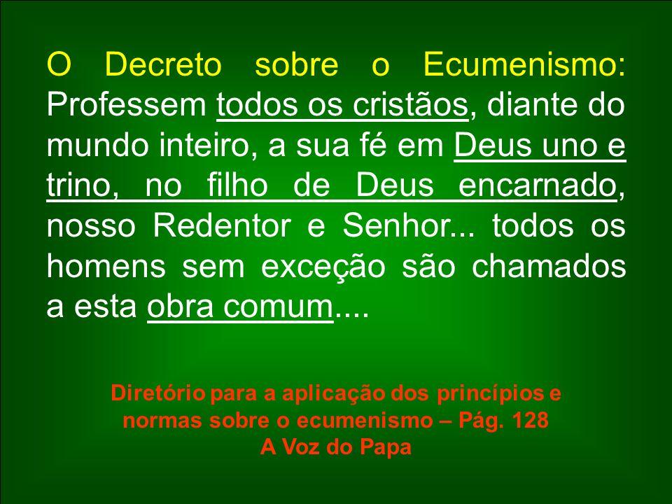 O Decreto sobre o Ecumenismo: Professem todos os cristãos, diante do mundo inteiro, a sua fé em Deus uno e trino, no filho de Deus encarnado, nosso Re