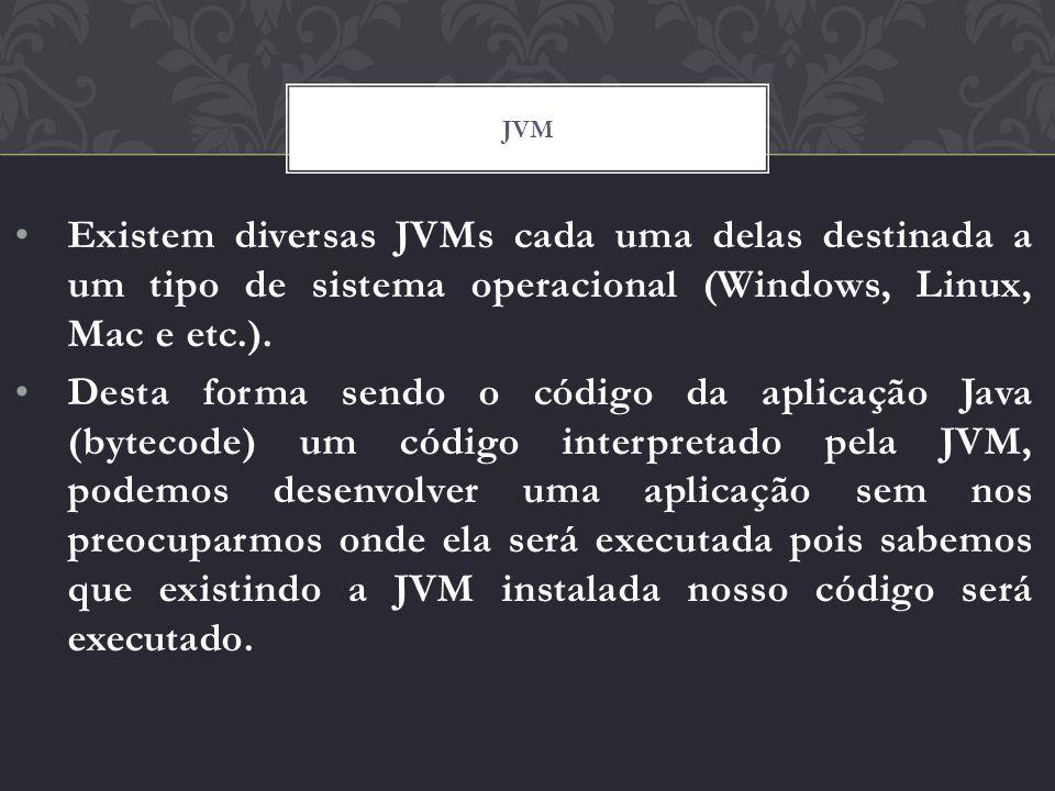 Existem diversas JVMs cada uma delas destinada a um tipo de sistema operacional (Windows, Linux, Mac e etc.). Desta forma sendo o código da aplicação