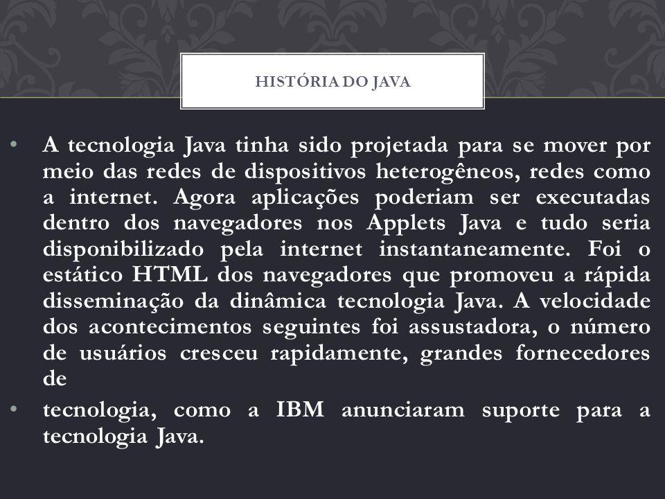 A tecnologia Java tinha sido projetada para se mover por meio das redes de dispositivos heterogêneos, redes como a internet. Agora aplicações poderiam