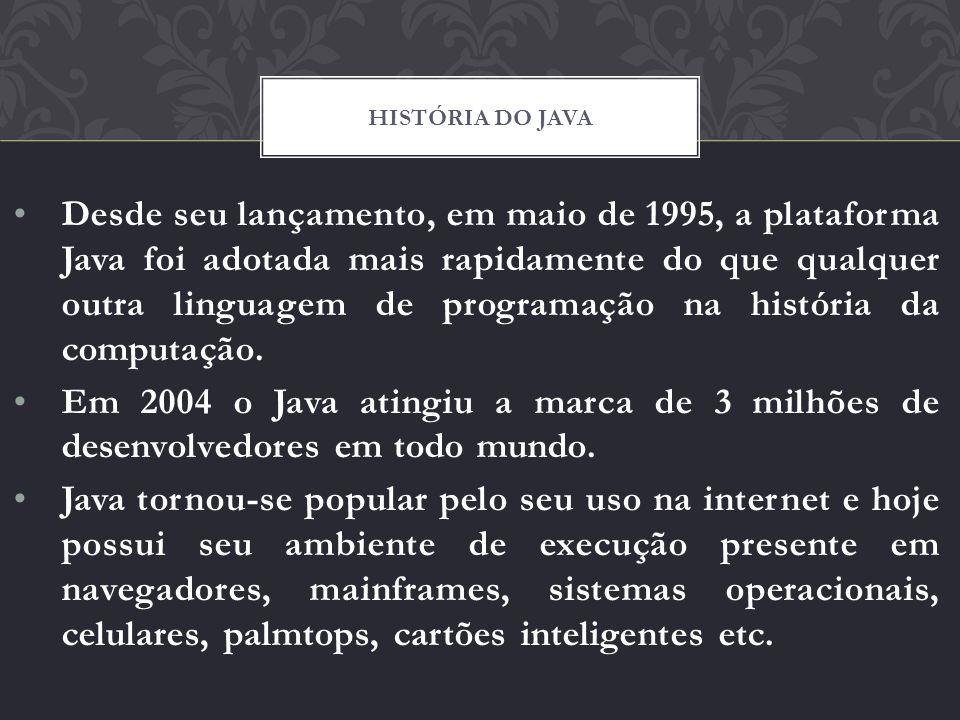 Desde seu lançamento, em maio de 1995, a plataforma Java foi adotada mais rapidamente do que qualquer outra linguagem de programação na história da co