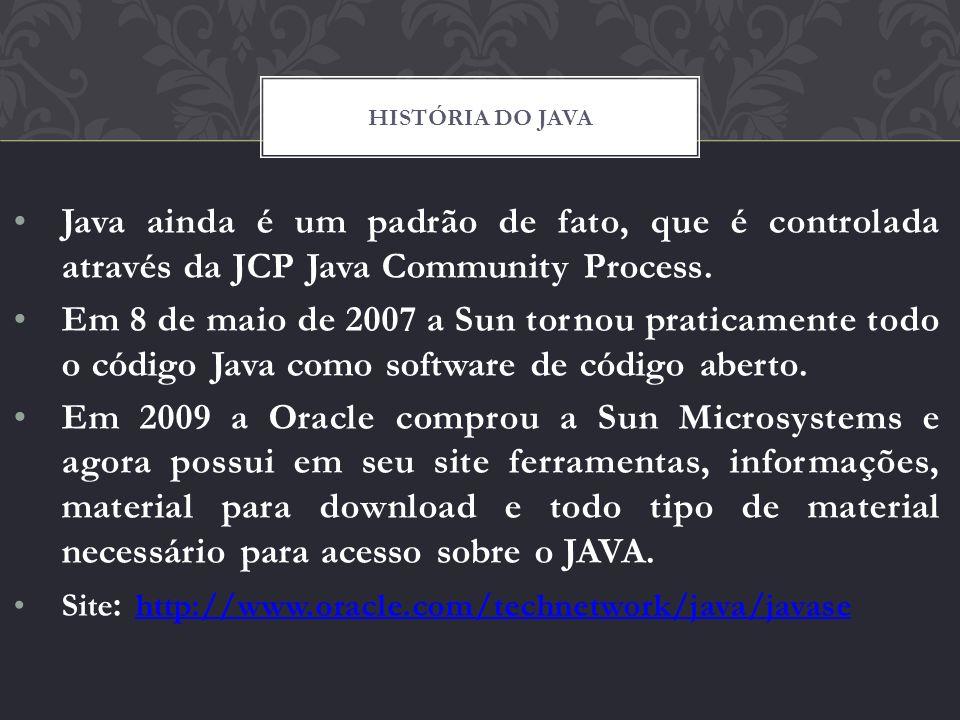 Java ainda é um padrão de fato, que é controlada através da JCP Java Community Process. Em 8 de maio de 2007 a Sun tornou praticamente todo o código J