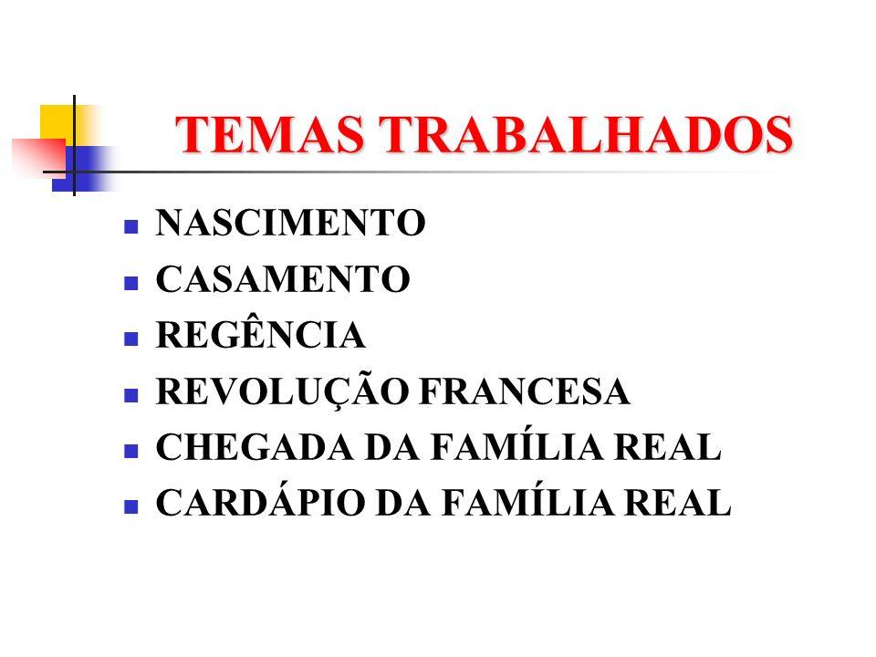 TEMAS TRABALHADOS NASCIMENTO CASAMENTO REGÊNCIA REVOLUÇÃO FRANCESA CHEGADA DA FAMÍLIA REAL CARDÁPIO DA FAMÍLIA REAL