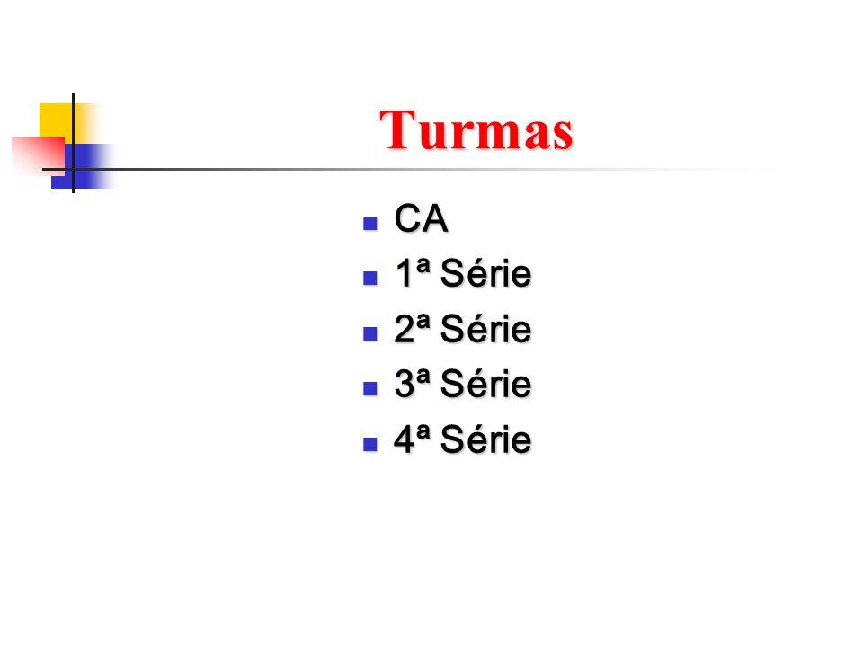 Turmas CA CA 1ª Série 1ª Série 2ª Série 2ª Série 3ª Série 3ª Série 4ª Série 4ª Série