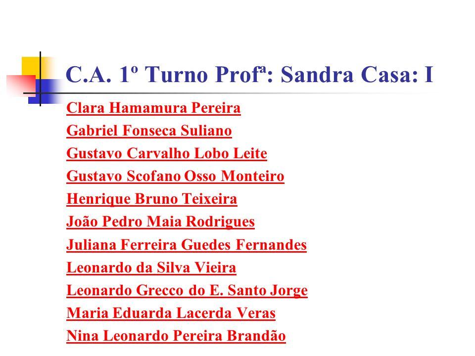 C.A. 1º Turno Profª: Sandra Casa: I Clara Hamamura Pereira Gabriel Fonseca Suliano Gustavo Carvalho Lobo Leite Gustavo Scofano Osso Monteiro Henrique