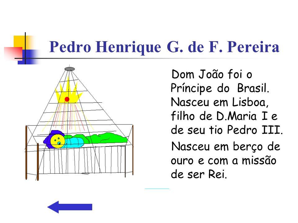 Pedro Henrique G. de F. Pereira Dom João foi o Príncipe do Brasil. Nasceu em Lisboa, filho de D.Maria I e de seu tio Pedro III. Nasceu em berço de our