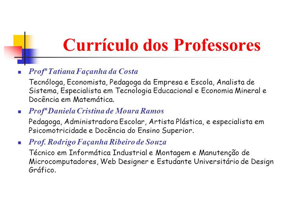 Currículo dos Professores Profª Tatiana Façanha da Costa Tecnóloga, Economista, Pedagoga da Empresa e Escola, Analista de Sistema, Especialista em Tec