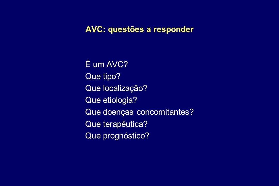 AVC: questões a responder É um AVC? Que tipo? Que localização? Que etiologia? Que doenças concomitantes? Que terapêutica? Que prognóstico?