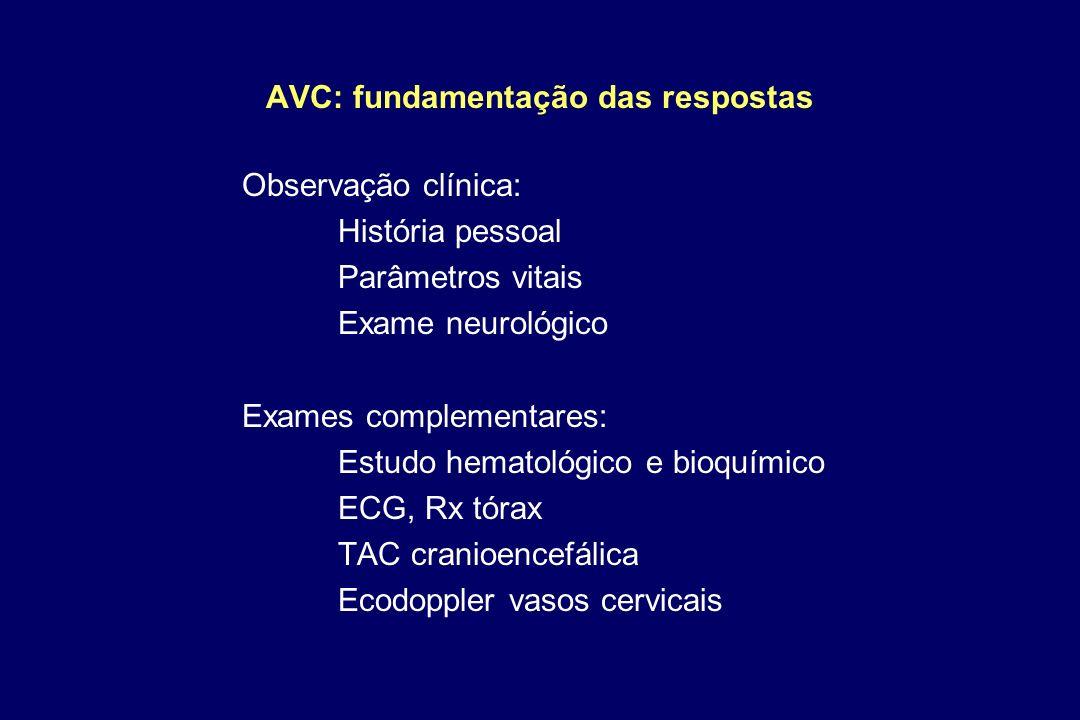 AVC: fundamentação das respostas Observação clínica: História pessoal Parâmetros vitais Exame neurológico Exames complementares: Estudo hematológico e