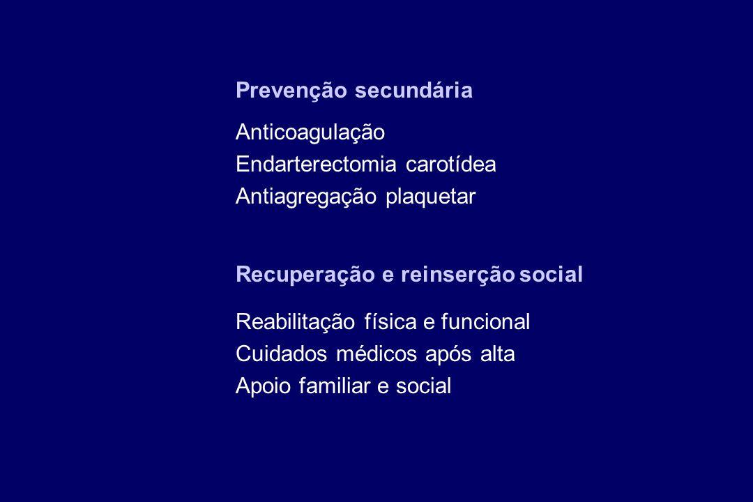 Prevenção secundária Anticoagulação Endarterectomia carotídea Antiagregação plaquetar Recuperação e reinserção social Reabilitação física e funcional