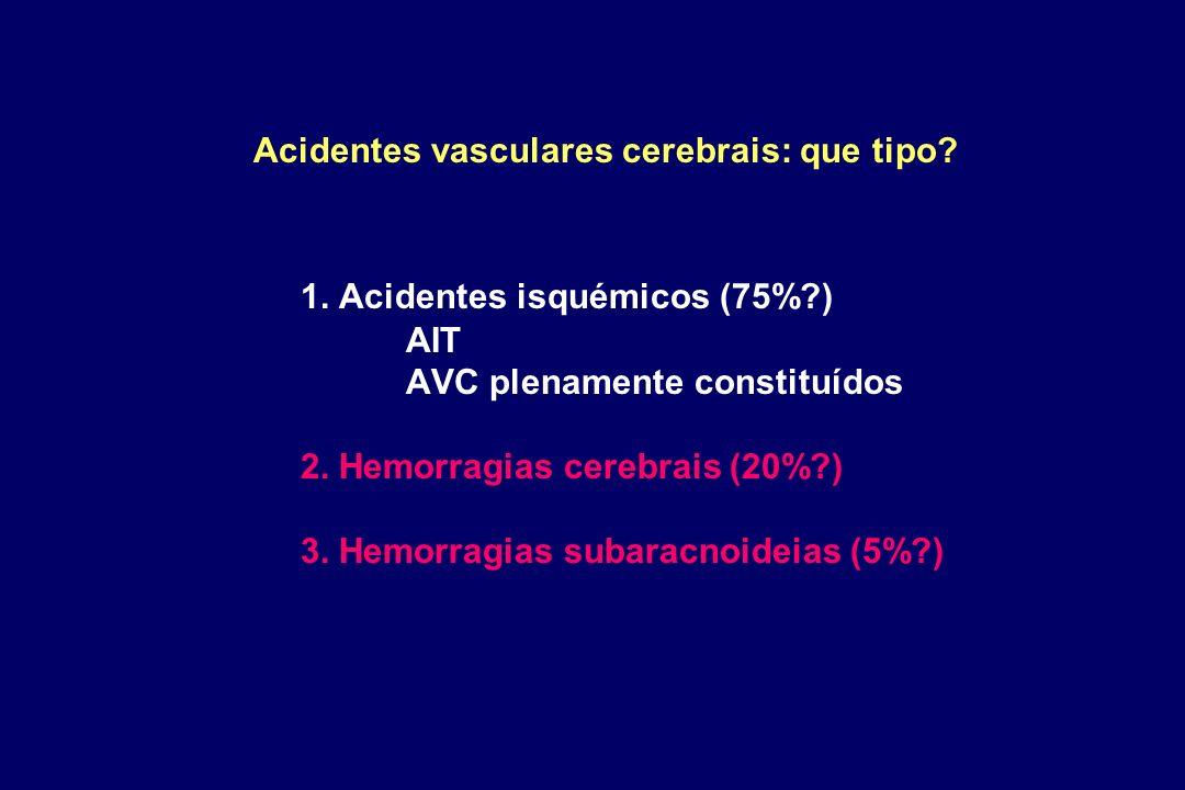 Acidentes vasculares cerebrais: que tipo? 1. Acidentes isquémicos (75%?) AIT AVC plenamente constituídos 2. Hemorragias cerebrais (20%?) 3. Hemorragia