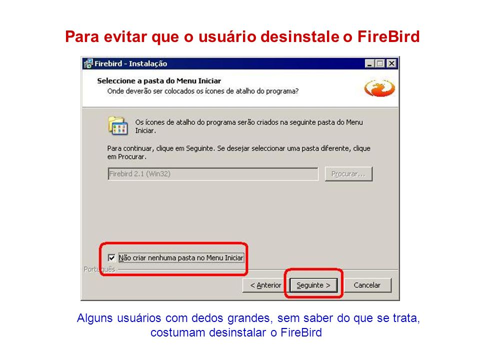 Para evitar que o usuário desinstale o FireBird Alguns usuários com dedos grandes, sem saber do que se trata, costumam desinstalar o FireBird
