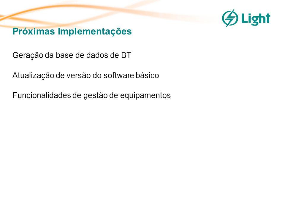 Próximas Implementações Geração da base de dados de BT Atualização de versão do software básico Funcionalidades de gestão de equipamentos
