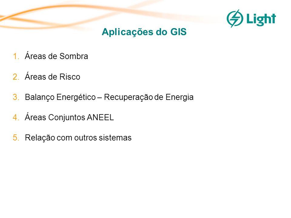 Aplicações do GIS 1.Áreas de Sombra 2.Áreas de Risco 3.Balanço Energético – Recuperação de Energia 4.Áreas Conjuntos ANEEL 5.Relação com outros sistemas