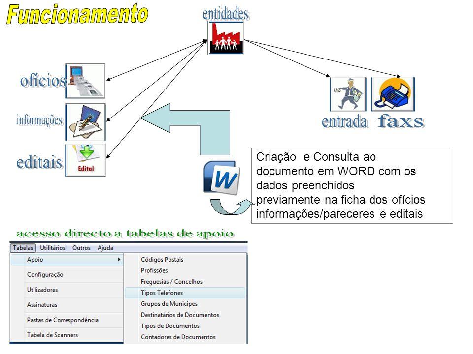 Criação e Consulta ao documento em WORD com os dados preenchidos previamente na ficha dos ofícios informações/pareceres e editais