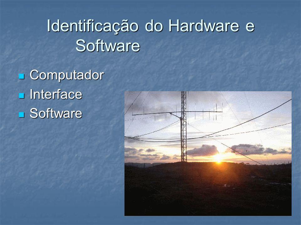 Identificação do Hardware e Software Computador Computador Interface Interface Software Software