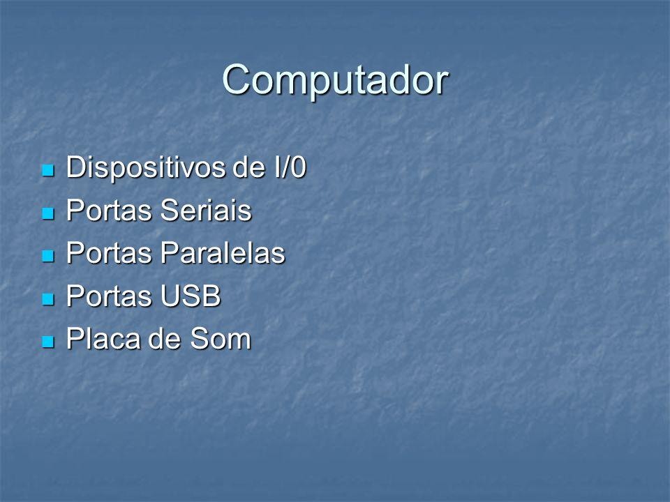 Computador Dispositivos de I/0 Dispositivos de I/0 Portas Seriais Portas Seriais Portas Paralelas Portas Paralelas Portas USB Portas USB Placa de Som