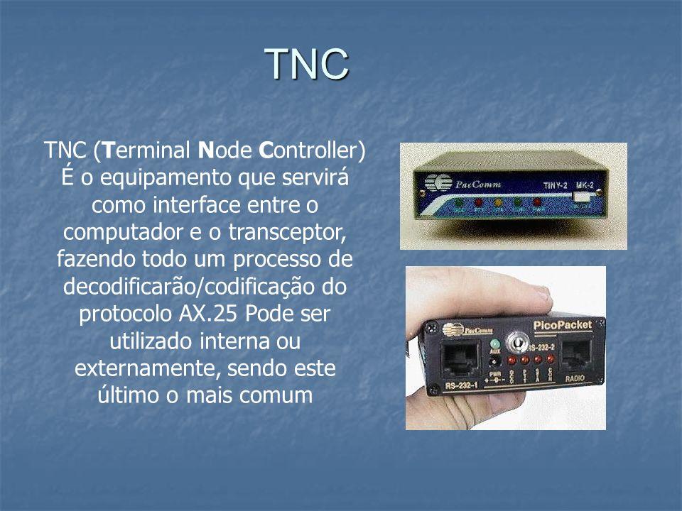 TNC TNC (Terminal Node Controller) É o equipamento que servirá como interface entre o computador e o transceptor, fazendo todo um processo de decodifi