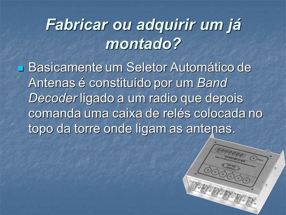 Fabricar ou adquirir um já montado? Basicamente um Seletor Automático de Antenas é constituído por um Band Decoder ligado a um radio que depois comand