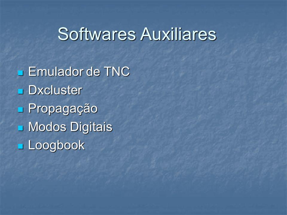 Softwares Auxiliares Emulador de TNC Emulador de TNC Dxcluster Dxcluster Propagação Propagação Modos Digitais Modos Digitais Loogbook Loogbook