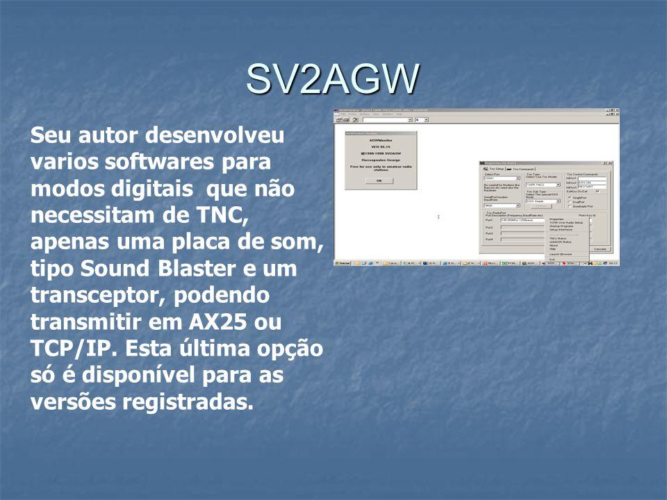 SV2AGW Seu autor desenvolveu varios softwares para modos digitais que não necessitam de TNC, apenas uma placa de som, tipo Sound Blaster e um transcep