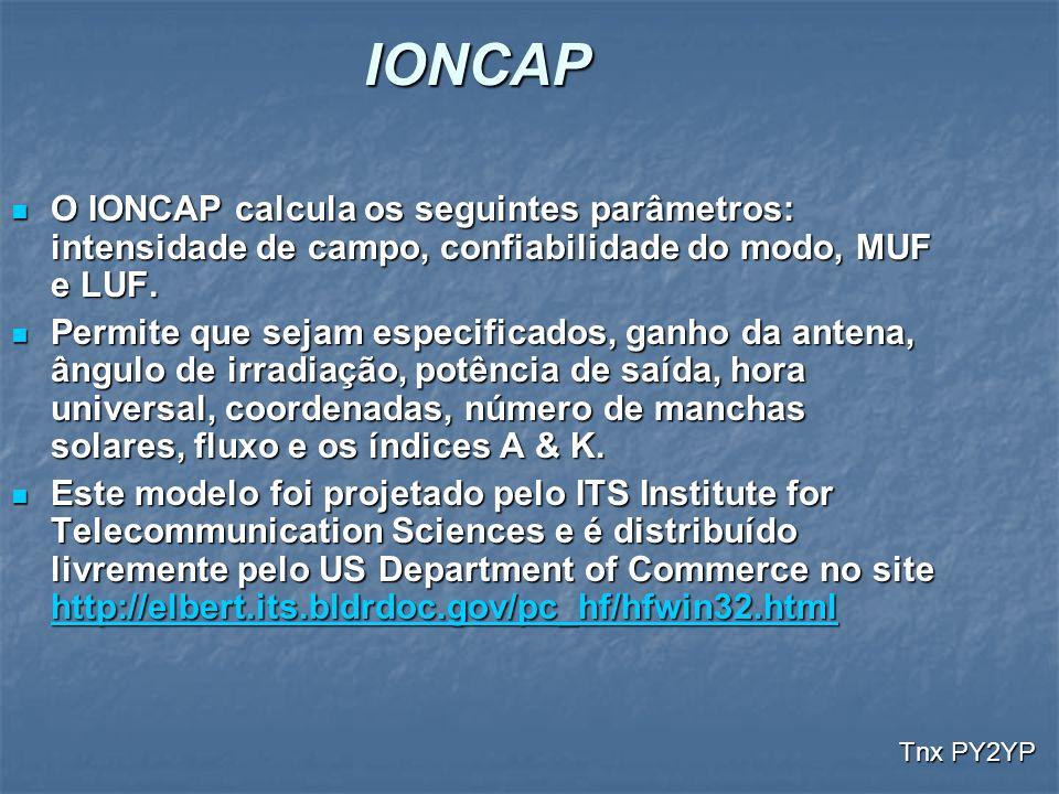 IONCAP O IONCAP calcula os seguintes parâmetros: intensidade de campo, confiabilidade do modo, MUF e LUF. O IONCAP calcula os seguintes parâmetros: in