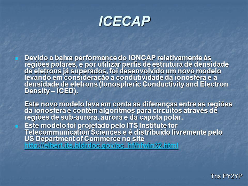 ICECAP Devido a baixa performance do IONCAP relativamente às regiões polares, e por utilizar perfis de estrutura de densidade de eletrons já superados