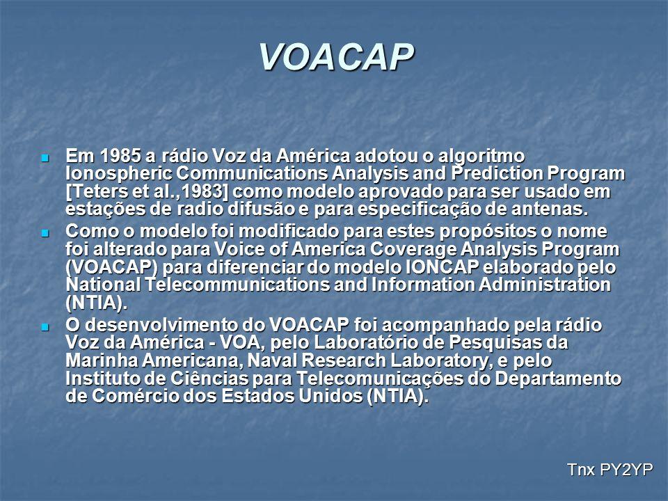 VOACAP Em 1985 a rádio Voz da América adotou o algoritmo Ionospheric Communications Analysis and Prediction Program [Teters et al.,1983] como modelo a
