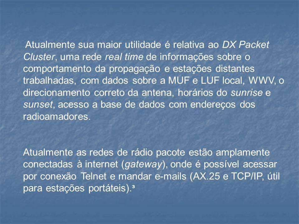 Atualmente sua maior utilidade é relativa ao DX Packet Cluster, uma rede real time de informações sobre o comportamento da propagação e estações dista