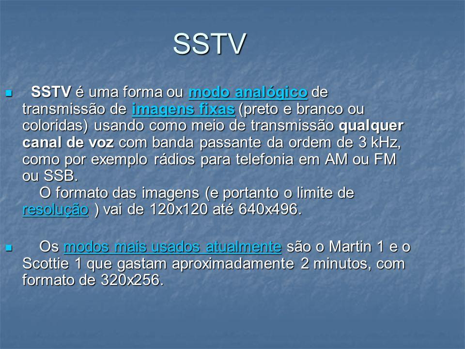 SSTV SSTV é uma forma ou modo analógico de transmissão de imagens fixas (preto e branco ou coloridas) usando como meio de transmissão qualquer canal d